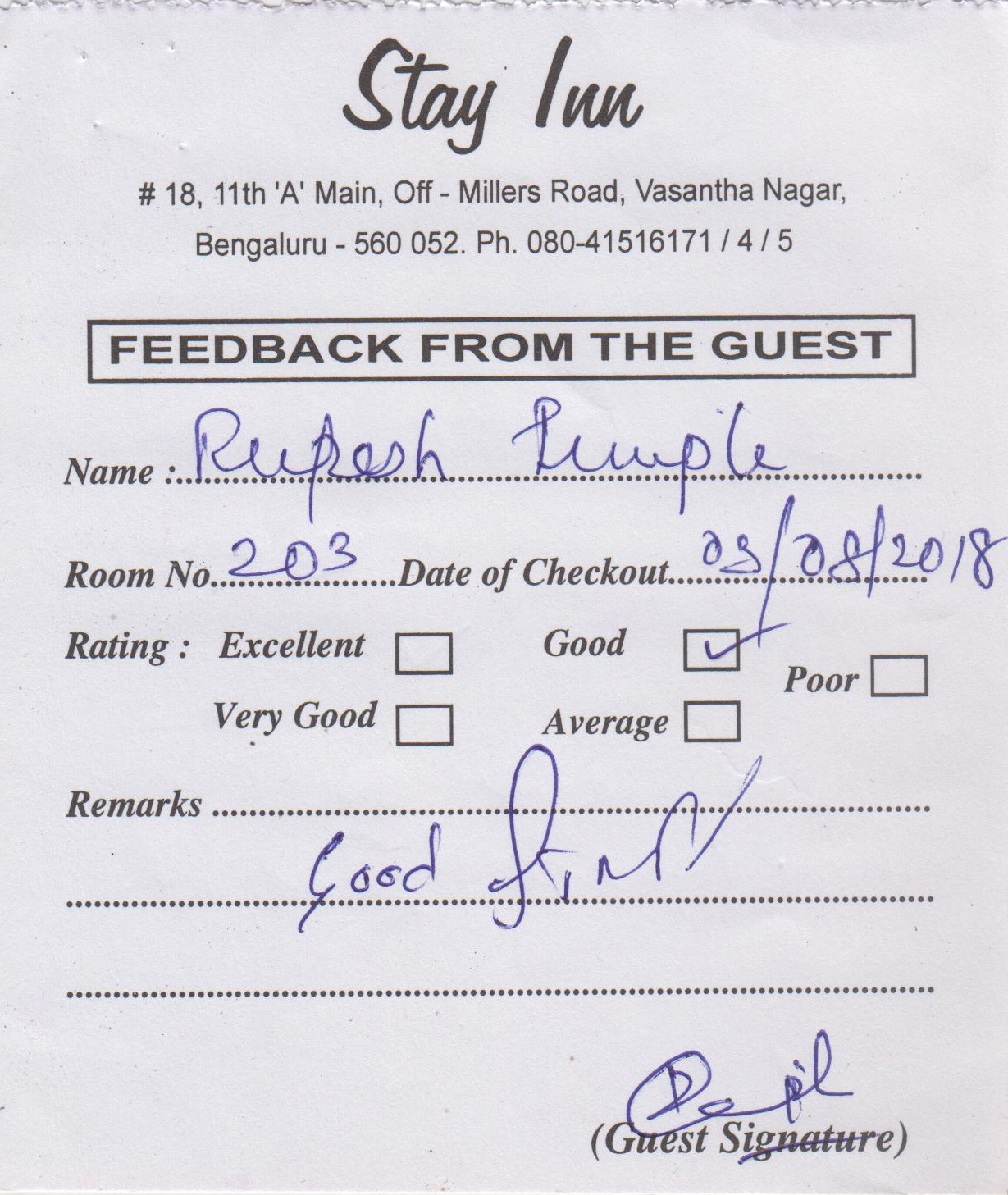 Comments Feedbacks Of Hotel Stay Inn Bangalore Customers Are Excellent 03 Rupesh Ruple 08 2018 Good Staff